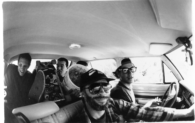 "1st road trip with ""Hecklers"" bound for drained pools in the Oakland hills. Sonny's Valiant, 1993."