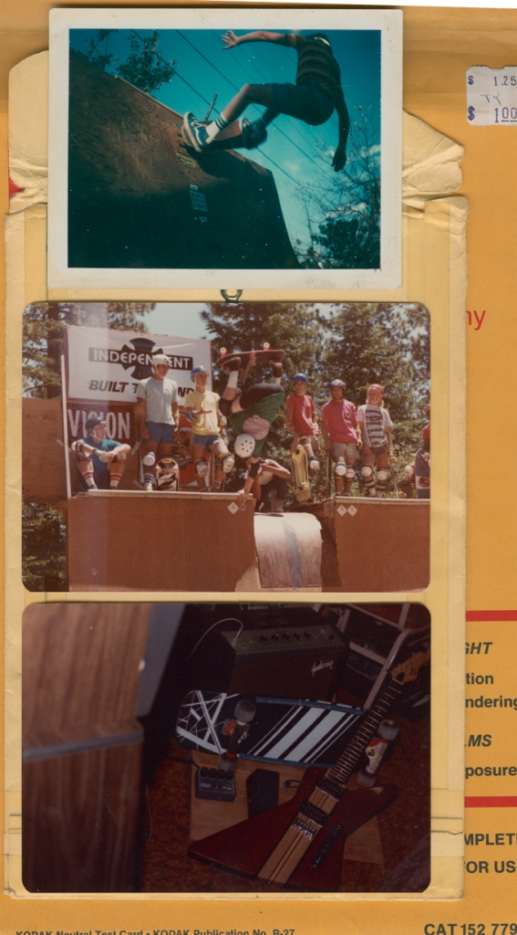 "Early Death Ramp backyard session. Circa 78 - Jeff Grosso Channel Plant w/ Classic Crew in the background. 1984 Mile High Jam. - ""Quiver of 84"" Custom hand painted Monty Nolder board. Hand made pedalboard and Axe for the ages!"