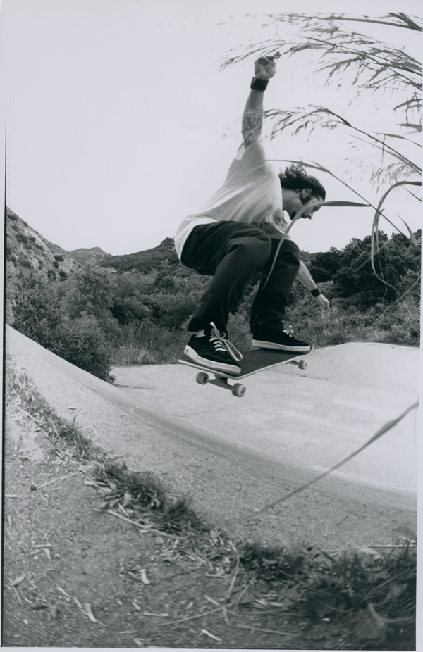 Tony Alva blasts into the Bronson Ditch LA. Circa 1995.