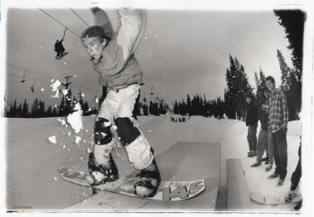 Cardiel as an unknown ripping a table slide as Jason Lee and Wade Speyer look on. Circa 1990.