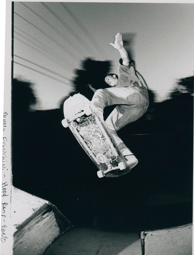 Denny Franchini 100 mph ollie over channel to fakie board slap. At Skinny's Ramp. Circa 1990.