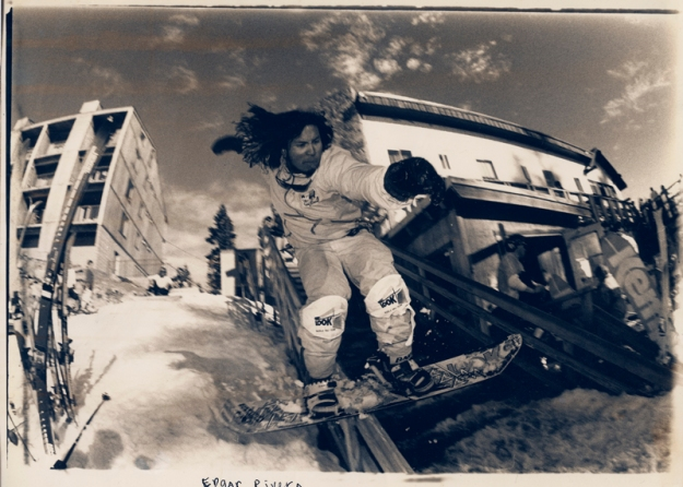 "Edgar ""Pineapple"" Rivera early fashion jib Donner Ski Ranch. Circa 1987."