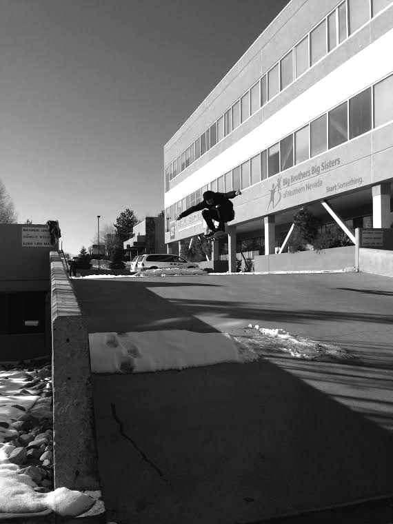 Tyler takes the long ollie into the dry zone.